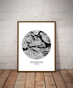 Mapospheres Stockholm Black and White dark round shape design poster city map
