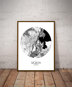 Mapospheres Szeczin Black and White dark round shape design poster city map
