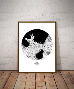 Mapospheres Tallinn Black and White dark round shape design poster city map