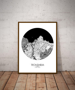Mapospheres Trondheim Black and White dark round shape design poster city map