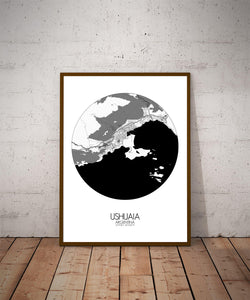 Mapospheres Ushuaia Black and White dark round shape design poster city map