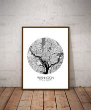 Load image into Gallery viewer, Mapospheres Washington Black and White dark round shape design poster city map
