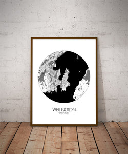 Mapospheres New York Black and White round shape design poster city map