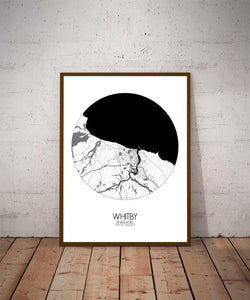 Mapospheres Whitby Black and White dark round shape design poster city map