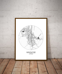 Mapospheres Windhoek Black and White dark round shape design poster city map