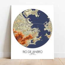Load image into Gallery viewer, Mapospheres Rio de Janeiro Elevation map round shape design canvas city map