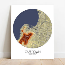 Load image into Gallery viewer, Mapospheres Cape Town Elevation map round shape design canvas city map