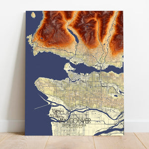 Mapospheres Vancouver round shape design canvas elevation map