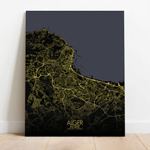 Load image into Gallery viewer, Mapospheres Algiers Night full page design poster city map