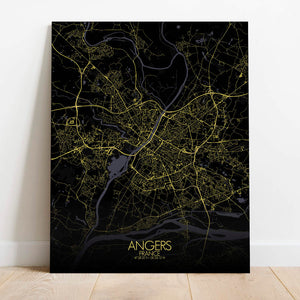 Mapospheres angers Night Design full page design canvas city map