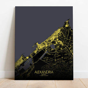 Mapospheres Alexandria Night Design full page design canvas city map