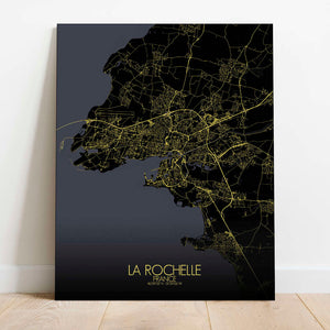 Mapospheres La Rochelle Night Design full page design canvas city map