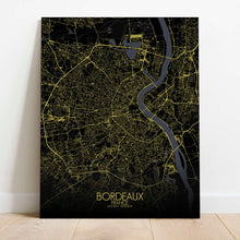 Load image into Gallery viewer, Mapospheres Bordeaux Night Design full page design canvas city map