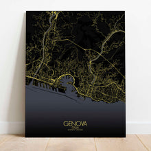 Load image into Gallery viewer, Mapospheres Genoa Night Design full page design canvas city map