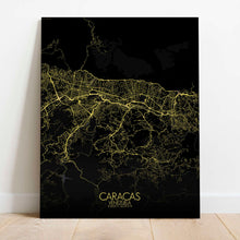 Load image into Gallery viewer, Mapospheres Caracas Night Design full page design canvas city map