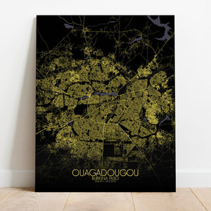 Mapospheres Ouagadougou Night Design full page design canvas city map