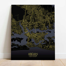 Load image into Gallery viewer, Mapospheres Abidjan Night Design full page design canvas city map