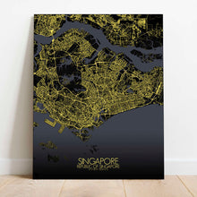Load image into Gallery viewer, Mapospheres Siingapore Night Design full page design canvas city map
