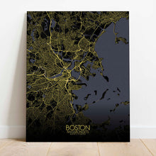 Load image into Gallery viewer, Mapospheres Boston Night Design full page design canvas city map