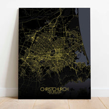 Load image into Gallery viewer, Mapospheres Christchurch Night Design full page design canvas city map