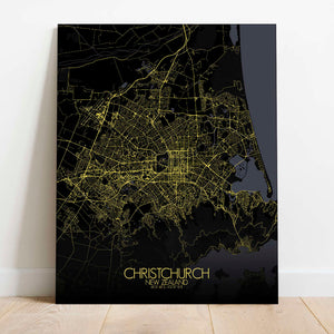 Mapospheres Christchurch Night Design full page design canvas city map