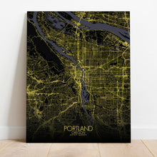 Load image into Gallery viewer, Mapospheres Portland Night Design full page design canvas city map
