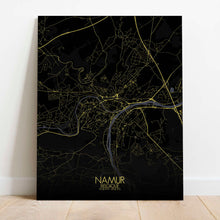 Load image into Gallery viewer, Mapospheres Namur Night Design full page design canvas city map