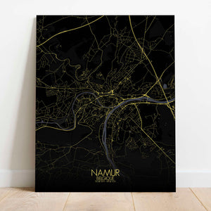 Mapospheres Namur Night Design full page design canvas city map