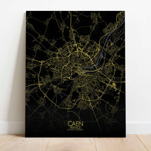 Load image into Gallery viewer, Mapospheres Caen Night Design full page design canvas city map