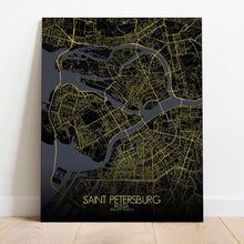 Load image into Gallery viewer, Mapospheres Saint Petersburg Night Design full page design canvas city map