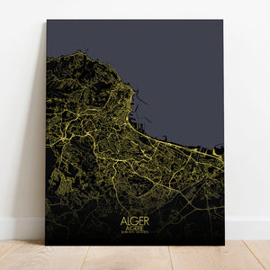 Mapospheres Algiers Night full page design poster city map