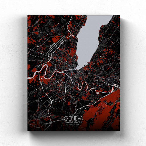 Mapospheres Geneva Red dark full page design canvas city map