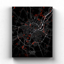 Load image into Gallery viewer, Mapospheres Caen Red dark full page design canvas city map