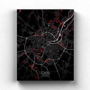 Mapospheres Caen Red dark full page design canvas city map