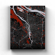 Load image into Gallery viewer, Mapospheres Portland Red dark full page design canvas city map