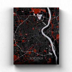 Mapospheres Bordeaux Red dark full page design canvas city map