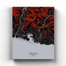 Load image into Gallery viewer, Mapospheres Genoa Red dark full page design canvas city map