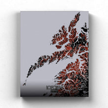Load image into Gallery viewer, Mapospheres Lofoten Red dark full page design canvas city map