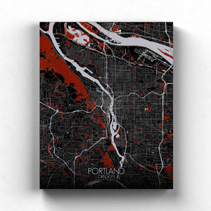 Mapospheres Portland Red dark full page design canvas city map