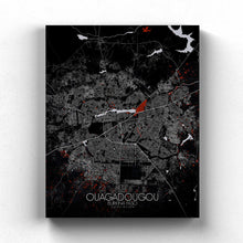 Load image into Gallery viewer, Mapospheres Ouagadougou Red dark full page design canvas city map