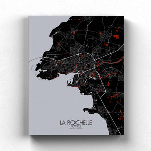 Mapospheres La Rochelle Red dark full page design canvas city map