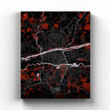 Load image into Gallery viewer, Mapospheres Tours Red dark full page design canvas city map