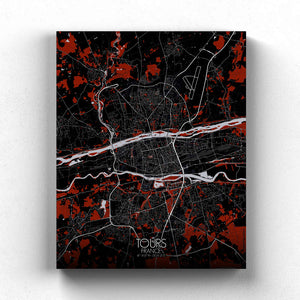 Mapospheres Tours Red dark full page design canvas city map