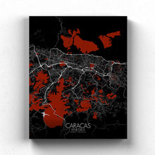 Load image into Gallery viewer, Mapospheres Caracas Red dark full page design canvas city map
