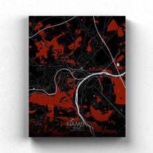 Load image into Gallery viewer, Mapospheres Namur Red dark full page design canvas city map