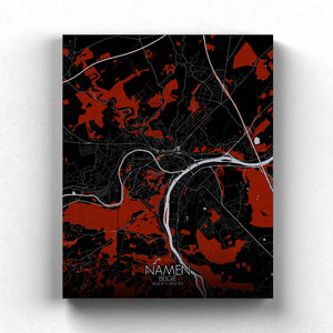 Mapospheres Namur Red dark full page design canvas city map