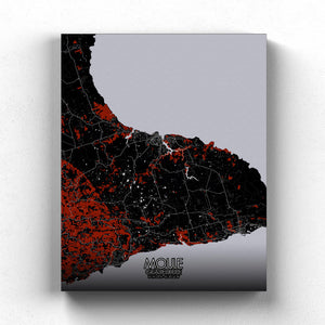 Mapospheres Moule Red dark full page design canvas city map