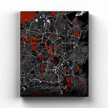 Load image into Gallery viewer, Mapospheres Kuala Lumpur KL Red dark full page design canvas city map