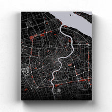 Load image into Gallery viewer, Mapospheres Shanghai Red dark full page design canvas city map