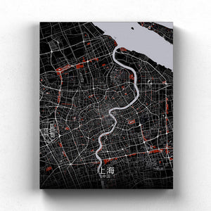 Mapospheres Shanghai Red dark full page design canvas city map
